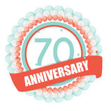 Cute Template 70 Years Anniversary with Balloons and Ribbon Vect Royalty Free Stock Photo