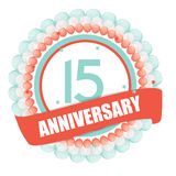 Cute Template 15 Years Anniversary with Balloons and Ribbon Vect. Or Illustration EPS10 Vector Illustration