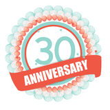 Cute Template 30 Years Anniversary with Balloons and Ribbon Vect Stock Image