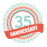Cute Template 35 Years Anniversary with Balloons and Ribbon Vect. Or Illustration EPS10 Stock Photography