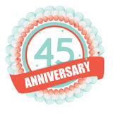 Cute Template 45 Years Anniversary with Balloons and Ribbon Vect Stock Images