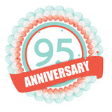 Cute Template 95 Years Anniversary with Balloons and Ribbon Vect. Or Illustration EPS10 royalty free illustration