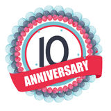 Cute Template 10 Years Anniversary with Balloons and Ribbon Vect Royalty Free Stock Photography
