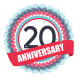 Cute Template 20 Years Anniversary with Balloons and Ribbon Vect. Or Illustration EPS10 Royalty Free Stock Photography