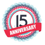 Cute Template 15 Years Anniversary with Balloons and Ribbon Vect. Or Illustration EPS10 Royalty Free Illustration