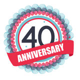 Cute Template 40 Years Anniversary with Balloons and Ribbon Vect Stock Photos