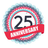 Cute Template 25 Years Anniversary with Balloons and Ribbon Vect. Or Illustration EPS10 Royalty Free Stock Images