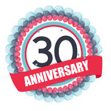 Cute Template 30 Years Anniversary with Balloons and Ribbon Vect. Or Illustration EPS10 Royalty Free Stock Photography
