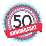 Cute Template 50 Years Anniversary with Balloons and Ribbon Vect Royalty Free Stock Image