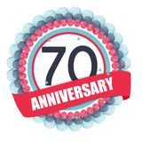 Cute Template 70 Years Anniversary with Balloons and Ribbon Vect Stock Image