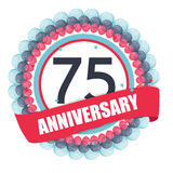 Cute Template 75 Years Anniversary with Balloons and Ribbon Vect Stock Images