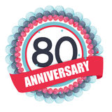 Cute Template 80 Years Anniversary with Balloons and Ribbon Vect. Or Illustration EPS10 Stock Image