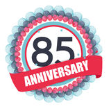 Cute Template 85 Years Anniversary with Balloons and Ribbon Vect Royalty Free Stock Photography