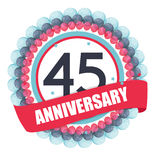 Cute Template 45 Years Anniversary with Balloons and Ribbon Vect Stock Photography