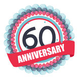 Cute Template 60 Years Anniversary with Balloons and Ribbon Vect Stock Image