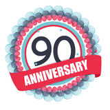Cute Template 90 Years Anniversary with Balloons and Ribbon Vect. Or Illustration EPS10 Stock Image
