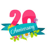 Cute Template 20 Years Anniversary Sign Vector Illustration. EPS10 Stock Photo