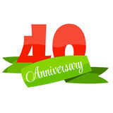 Cute Template 40 Years Anniversary Sign Vector Illustration Stock Photography