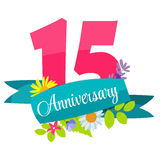 Cute Template 15 Years Anniversary Sign Vector Illustration. EPS10 Stock Illustration