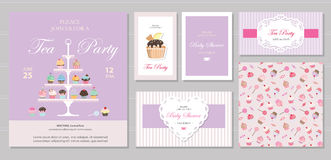 Cute templates with cupcakes stand and sweets in pastel colors. Cards and posters. For bridal, baby shower, birthday. Stock Images