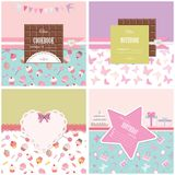 Cute templates set for girls. Can be used for scrapbook design, cookbook, diary, photo album cover. Seamless pattern included Royalty Free Stock Photography