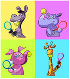 Cute tennis playing animals Royalty Free Stock Image
