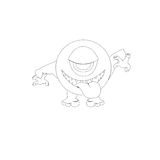 Cute terrible monster. A cute terrible uncolored monster Royalty Free Stock Photos