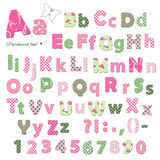 Cute textile font. Patterns under clipping mask. Stock Photography