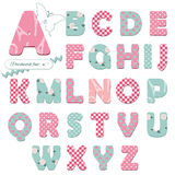 Cute textile font. Cute textile font for scrapbook or collage design. Patchwork style. Different patterns included under clipping mask Royalty Free Stock Photo