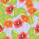 Cute texture with bright tropical flowers Royalty Free Stock Photo