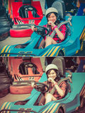 Cute Thai girl is driving Go-kart from the starting point in vin Royalty Free Stock Photo
