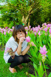 Cute Thai girl sneaking to pickup the pink Siam Tulip Royalty Free Stock Photography