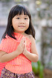 Cute Thai girl wearing typical Thai dress Royalty Free Stock Images