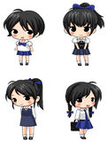 Cute Thai schoolgirl sprite icons Royalty Free Stock Images