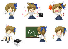 Cute Thai schoolgirl student in various activities. And emotion icon set 2, create by vector Stock Photo