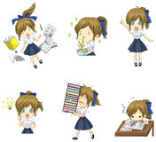 Cute Thai schoolgirl student in various activities. And emotion icon set 1, create by vector Stock Photos