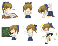 Cute Thai schoolgirl student in various activities. And emotion icon set 3, create by vector Stock Images