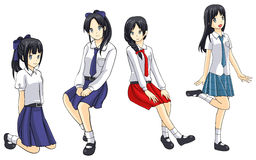 Cute Thai schoolgirls collection set 3 Stock Images