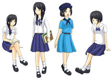 Cute Thai schoolgirls collection set 4 Royalty Free Stock Photography