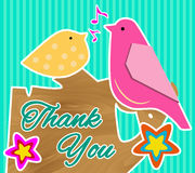 Cute Thank You Card with Two Birds Sitting on a Tree. Stock Image