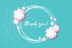 Cute Thank you paper cut card. Origami Floral blue background. Square frame for text. Vector Royalty Free Stock Images