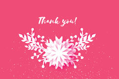 Cute Thank you paper cut card. Origami Floral blue background. Square frame for text. Vector Stock Image