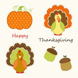 Cute Thanksgiving elements as retro fabric applique in traditional colors. Ideal as Thanksgiving greeting card Stock Photography