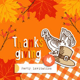 Cute thanksgiving greeting card, invitation with doodle turkey, hat, autumn leaves Stock Image