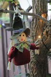 Cute Thanksgiving Pilgrim doll on a branch. Rag Thanksgiving pilgrim doll hanging from tree. holiday home decor. outdoors royalty free stock image