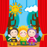 Cute Theater. Three children in costumes performing a theater play on stage royalty free illustration