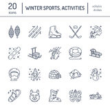 Cute thin line icons of winter sports. Outdoor activities vector elements - snowboard, hockey sled, skates, snow tubing. Ice kiting. Linear pictogram with Royalty Free Stock Image