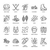 Cute thin line icons of winter sports. Outdoor activities vector Royalty Free Stock Images