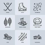 Cute thin line icons of winter sports. Outdoor activities vector elements - snowboard, hockey sled, skates, snow tubing Stock Images