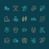 Cute thin line icons of winter sports. Outdoor activities vector elements snowboard, hockey sled, skates, snow tubing Stock Photos